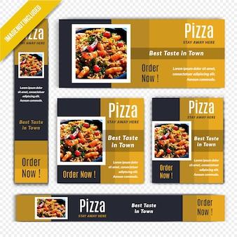 Pizza-lebensmittel-netz-fahnen-satz für restaurant