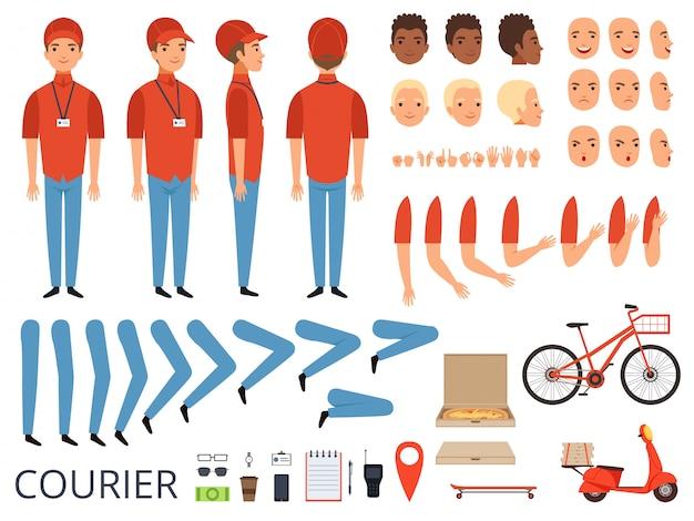 Pizza lieferung animation. fast food kurier körperteile mit professionellen gegenständen box bike character creation kit