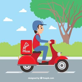 Pizza-lieferung auf roller mit flachem design