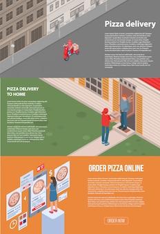 Pizza lieferung banner gesetzt. isometrischer satz der pizza-lieferungsvektorfahne für webdesign