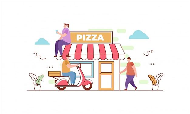 Pizza lieferung in flachen stil