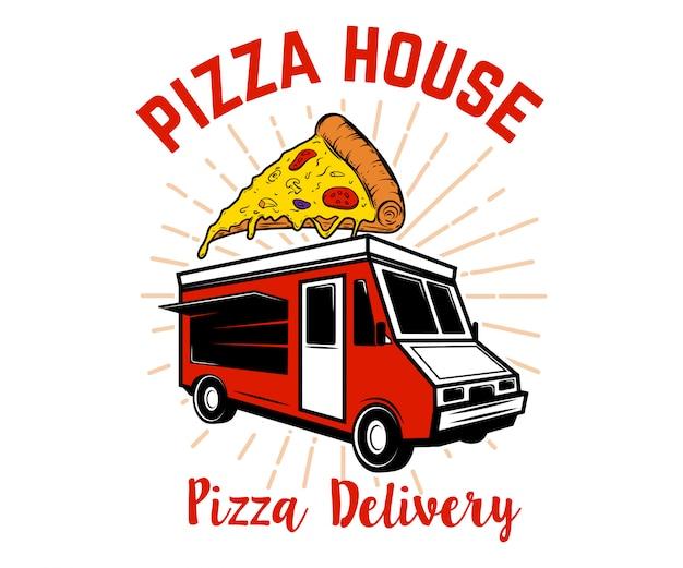 Pizza lieferweg. element für logo, etikett, emblem, zeichen. bild