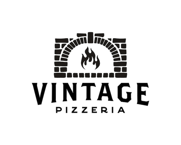 Pizza logo creative brennholzofen und holz befeuert konzept logo design template