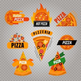 Pizza logo set. flacher satz pizza-logo für webdesign.