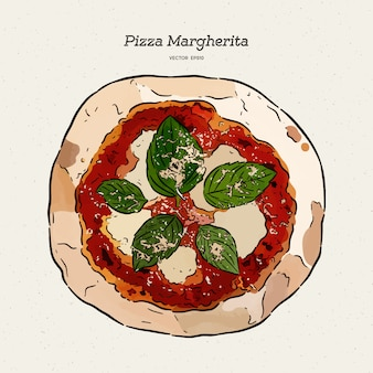 Pizza margherita, skizze des handabgehobenen betrages.