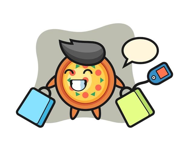 Pizza maskottchen cartoon hält eine einkaufstasche
