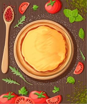Pizza menü tafel cartoon hintergrund mit frischen zutaten illustration pizzeria flyer hintergrund. zwei horizontale banner mit zutaten text auf holzhintergrund und tafel.