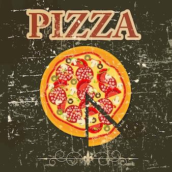 Pizza-menü-vorlage in der vintage-retro-grunge-stil-vektor-illustration