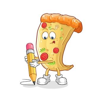 Pizza mit bleistift schreiben. cartoon maskottchen