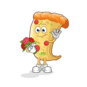 Pizza mit blumenstrauß cartoon maskottchen maskottchen