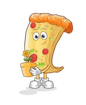 Pizza mit einer blumentopfillustration. charakter