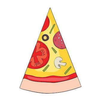 Pizza mit geschmolzenem käse und peperoni. cartoon-aufkleber im comic-stil mit kontur. dekoration für grußkarten, poster, aufnäher, drucke für kleidung, embleme. vektor-illustration.