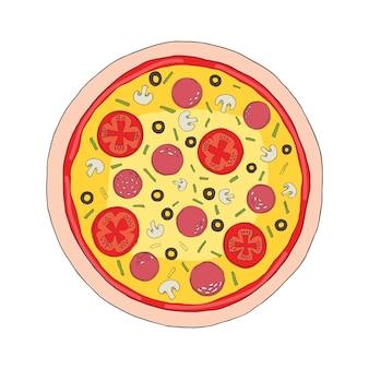 Pizza mit geschmolzenem käse und peperoni. cartoon-aufkleber im comic-stil mit kontur. dekoration für grußkarten, poster, aufnäher, drucke für kleidung, embleme. Premium Vektoren