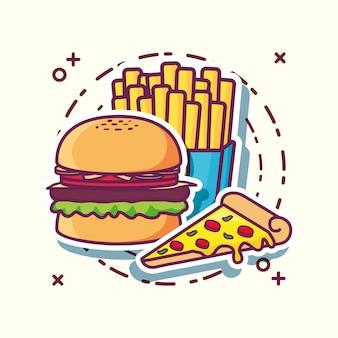 Pizza mit hamburger- und pommes-fritesikone über weißem hintergrund