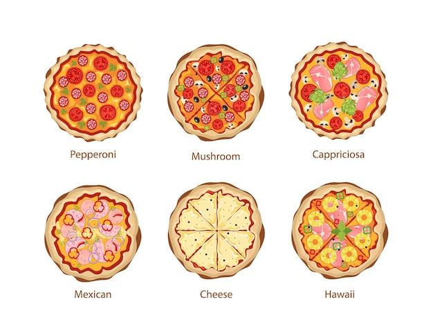 Pizza mit pilzen, cappriciosa, peperoni und käse, mexikanisch und hawaii