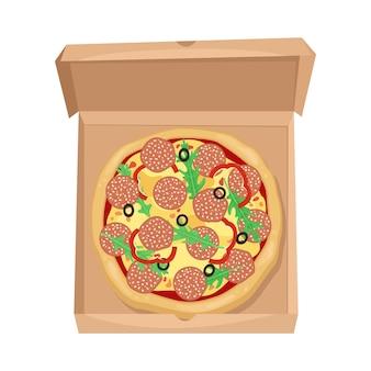 Pizza mit salami, oliven und käse in einem karton. der blick von oben.