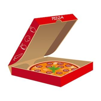 Pizza mit seinem kasten im vektor