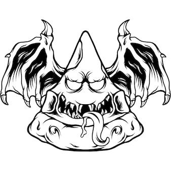 Pizza monster illustration silhouette