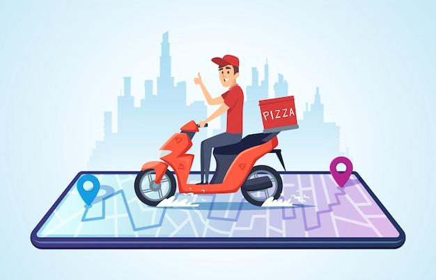 Pizza motorrad lieferung. stadtlandschaft mit lebensmittelkurier, der fahrrad schnell liefert