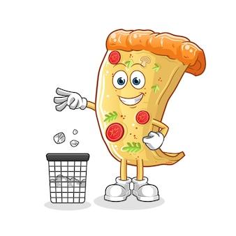 Pizza müll in mülleimer maskottchen werfen. karikatur