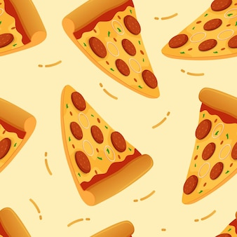 Pizza nahtlose muster hintergrund vektor-illustration pizza