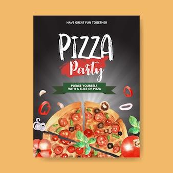 Pizza-plakatentwurf mit pizza, tomatenaquarellillustration.