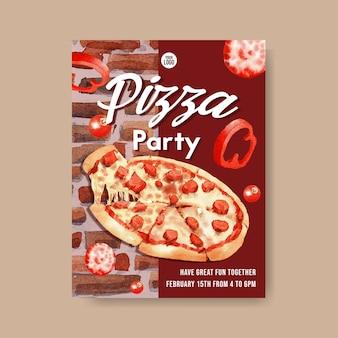 Pizza poster design mit peperoni pizza aquarell illustration.