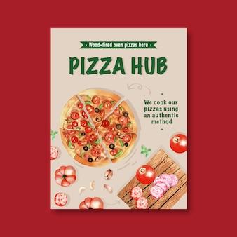 Pizza poster design mit pizza, kürbis aquarell illustration.