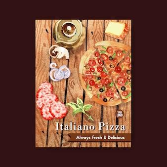 Pizza poster design mit pizza, teekanne aquarell illustration.