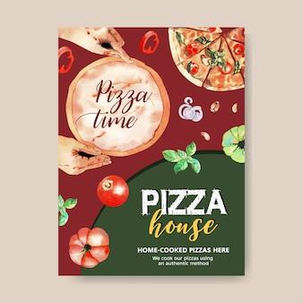 Pizza poster design mit teig, pizza, hände aquarell illustration.