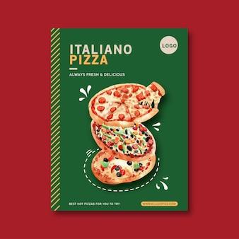 Pizza poster design mit verschiedenen pizza aquarell illustration.