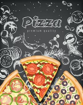 Pizza poster. herzhafte pizza-anzeigen mit 3d-illustrationsbelägen auf art-kreide-gekritzel.