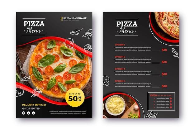 Pizza restaurant menü mit foto