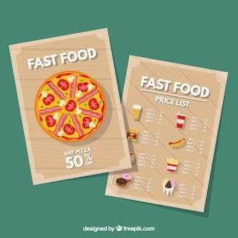 Pizza restaurant menü
