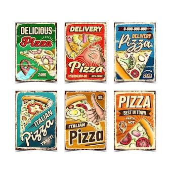 Pizza restaurant werbung plakate set