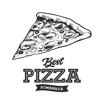 Pizza-retro-emblem. logo-vorlage. schwarze und weiße pizzaskizze. eps10-vektor-illustration.