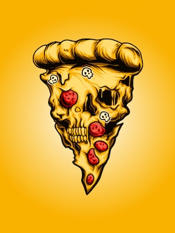 Pizza schädel illustration