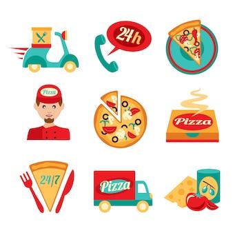 Pizza schnelle lieferung icons set