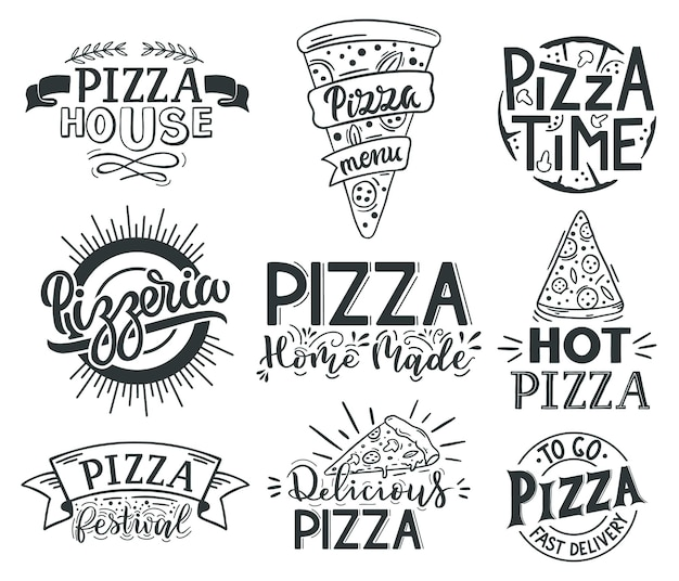 Pizza schriftzug zitate. italienische pizza, fast-food-schriftzüge, pizzeria-menü-lebensmitteletiketten