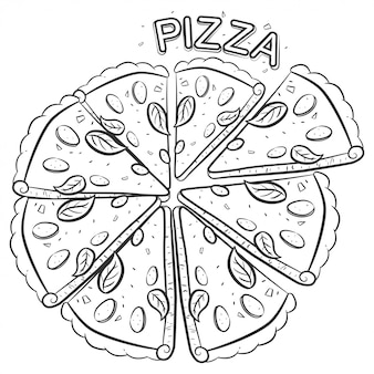Pizza-skizzenillustration lokalisiert auf einem weißen hintergrund.