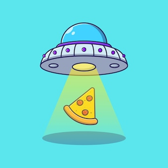 Pizza slice fliegen mit ufo oder alien. pizza lieferung symbol konzept isoliert.