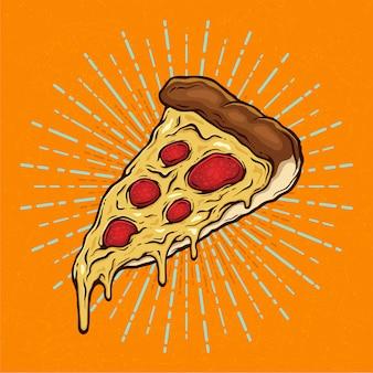Pizza slice mit geschmolzenem käse und pepperoni handgezeichnete illustration