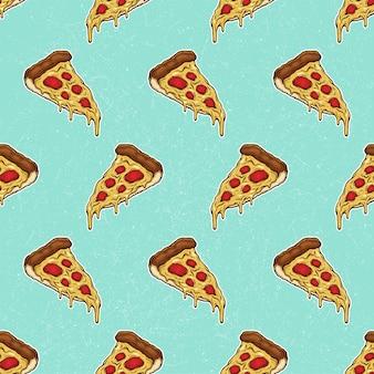 Pizza slice mit geschmolzenem käse und pepperoni-muster hand gezeichnete illustration