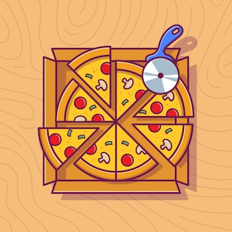 Pizza slice on box cartoon illustration.