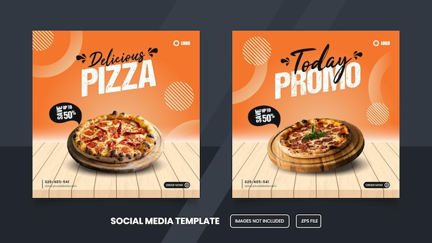 Pizza social media post template design premium eps