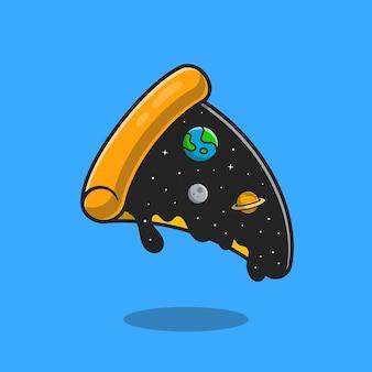 Pizza space topping cartoon. flacher cartoon-stil