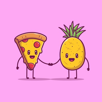Pizza und ananas niedlichen charakter icon illustration. liebe paar essen maskottchen, food icon konzept isoliert