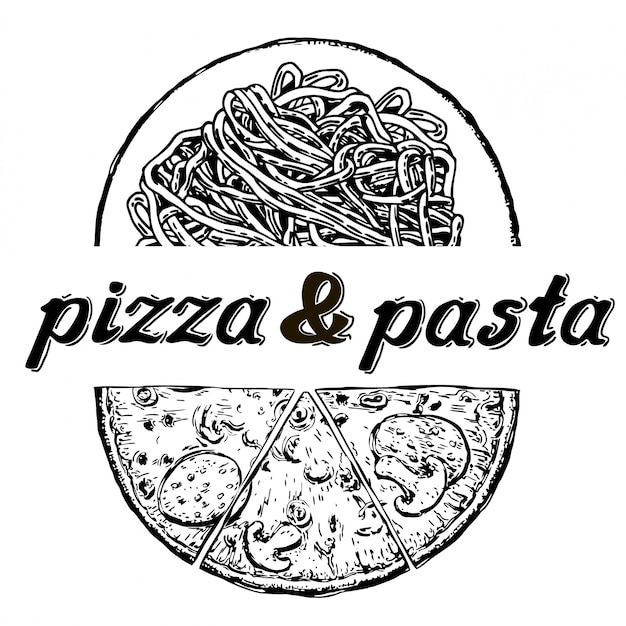 Pizza und pasta menü. kalligraphische und typografische elemente.