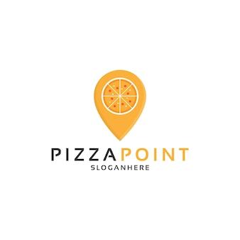 Pizza und pin, pizzapunkt-logo-design-vektor