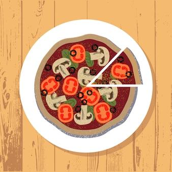 Pizza- und pizzascheibe auf weißer platte